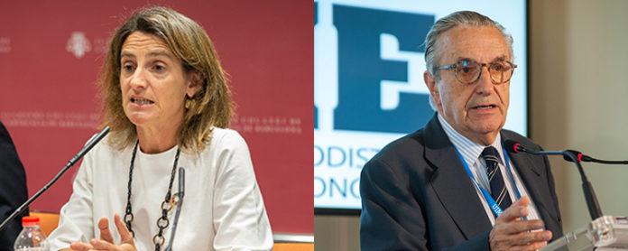 Teresa Ribera, ministra en funciones de Transición Ecológica, y José María Marín Quemada, presidente de la CNMC.