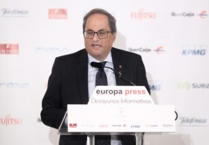 Joaquim Torra ha vuelto a mostrar su oposición a la estrategia de ERC y ha anunciado que votará no a la investidura de Sánchez. / EP