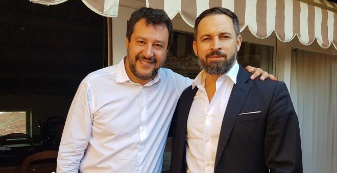 Matteo Salvini y Santigo Abascal en Roma.