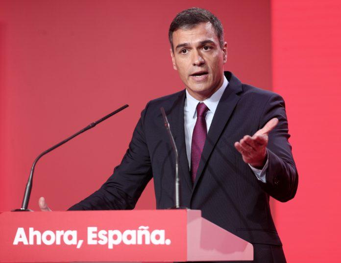 Pedro Sánchez en el acto de presentación de la campaña